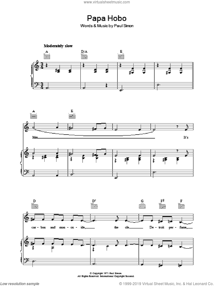 Papa Hobo sheet music for voice, piano or guitar by Paul Simon, intermediate. Score Image Preview.