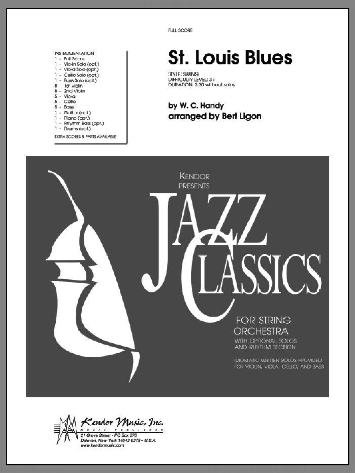 St. Louis Blues (COMPLETE) sheet music for orchestra by W.C. Handy and Ligon, intermediate skill level