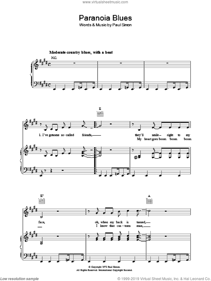 Paranoia Blues sheet music for voice, piano or guitar by Paul Simon. Score Image Preview.