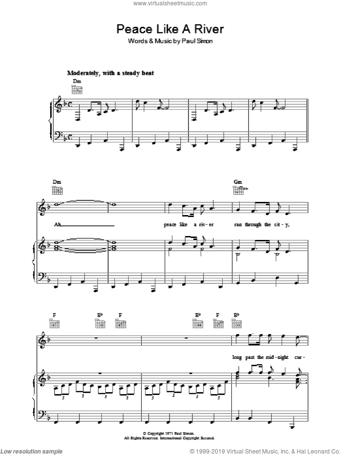 Peace Like A River sheet music for voice, piano or guitar by Paul Simon, intermediate. Score Image Preview.