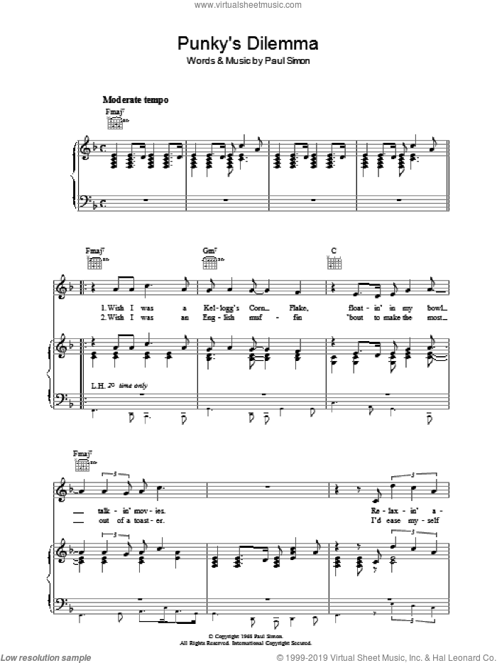Punky's Dilemma sheet music for voice, piano or guitar by Simon & Garfunkel and Paul Simon, intermediate. Score Image Preview.
