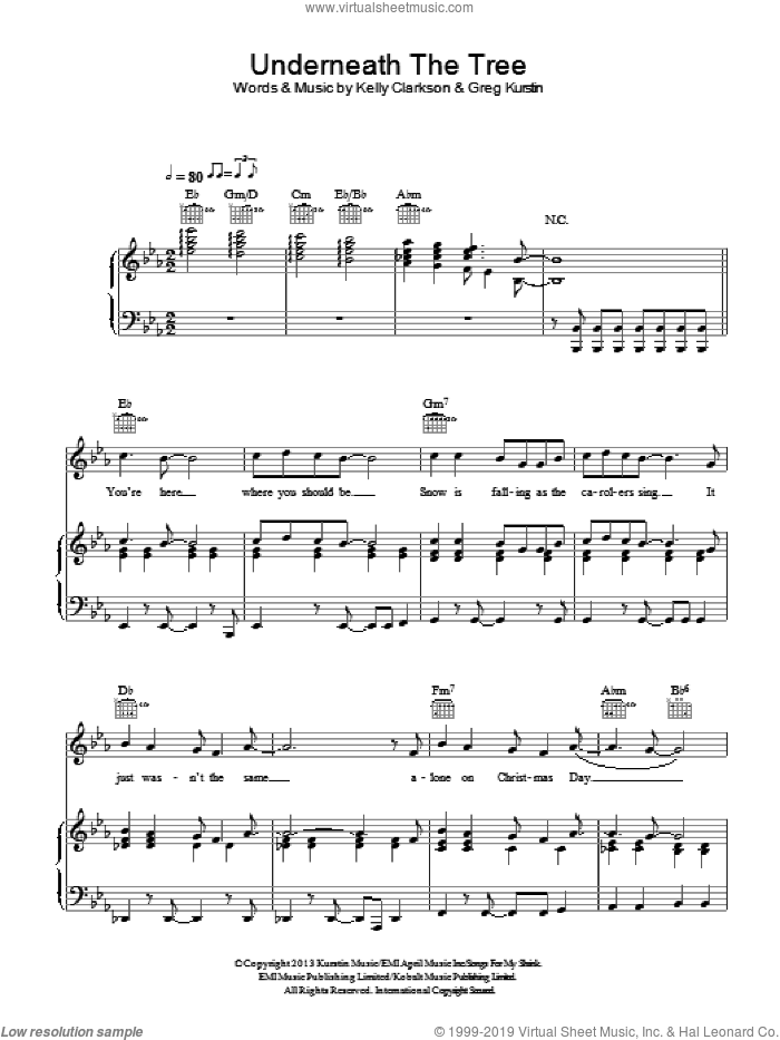 Underneath The Tree sheet music for voice, piano or guitar by Kelly Clarkson and Greg Kurstin. Score Image Preview.