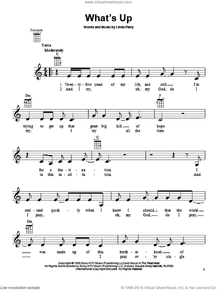 What's Up sheet music for ukulele by 4 Non Blondes, intermediate skill level