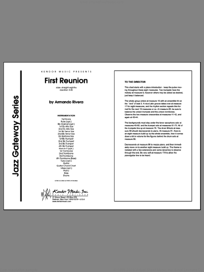 First Reunion sheet music for jazz band (full score) by Rivera