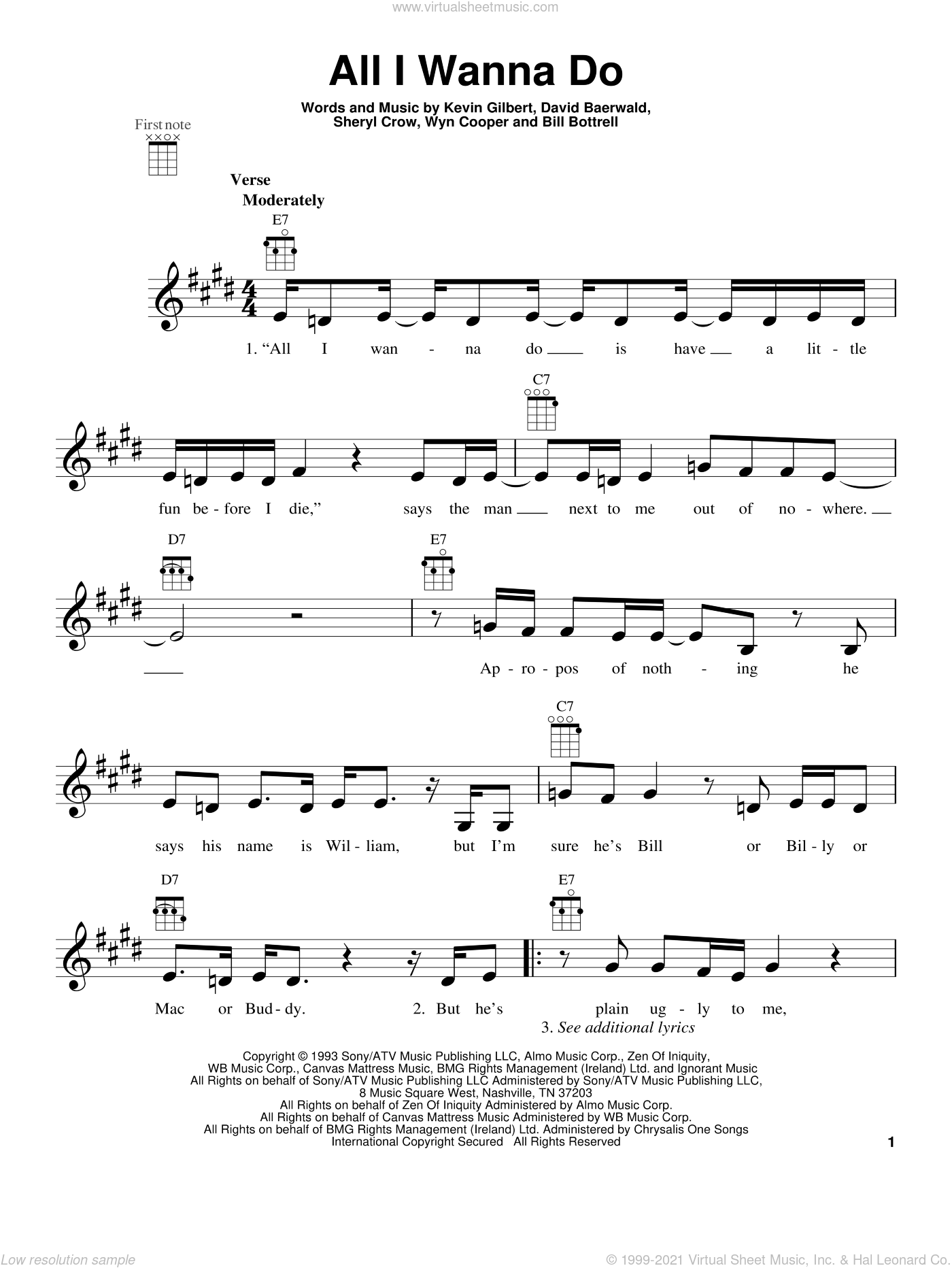 All I Wanna Do sheet music for ukulele by Sheryl Crow. Score Image Preview.