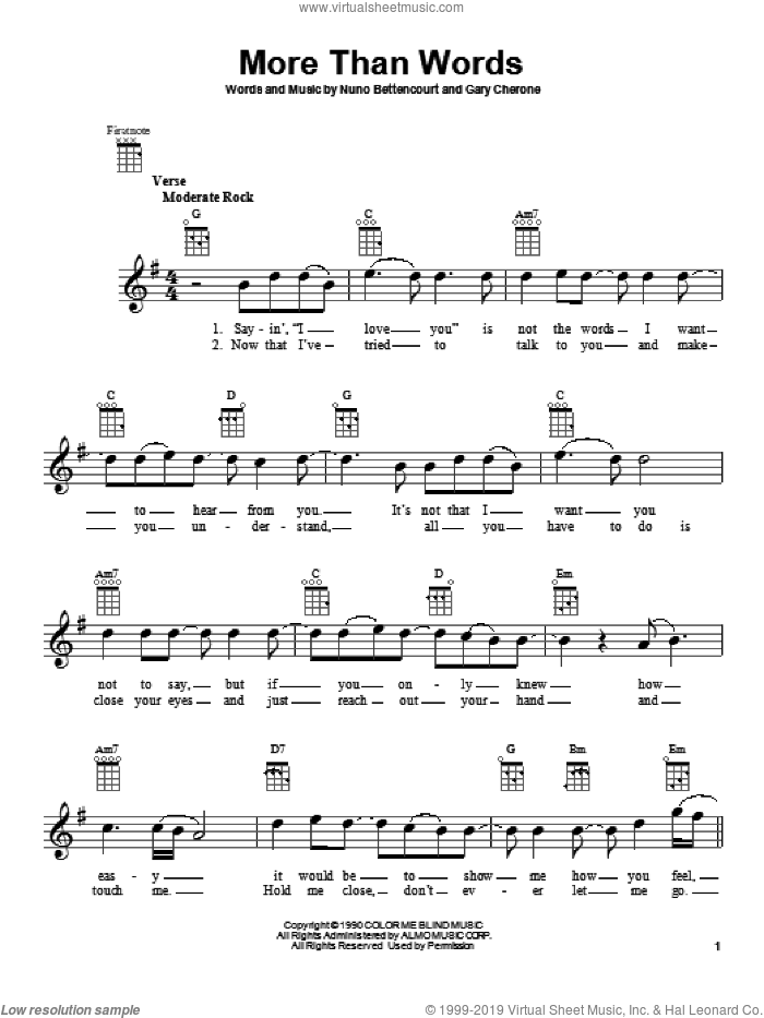 More Than Words sheet music for ukulele by Extreme, intermediate ukulele. Score Image Preview.