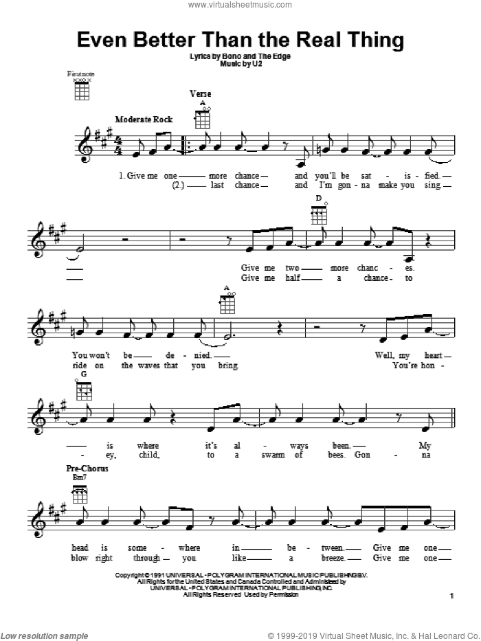 Even Better Than The Real Thing sheet music for ukulele by U2. Score Image Preview.
