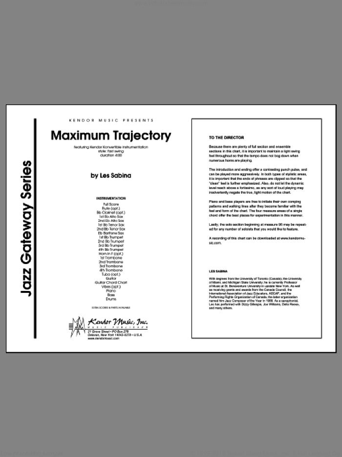 Maximum Trajectory sheet music for jazz band (full score) by Sabina