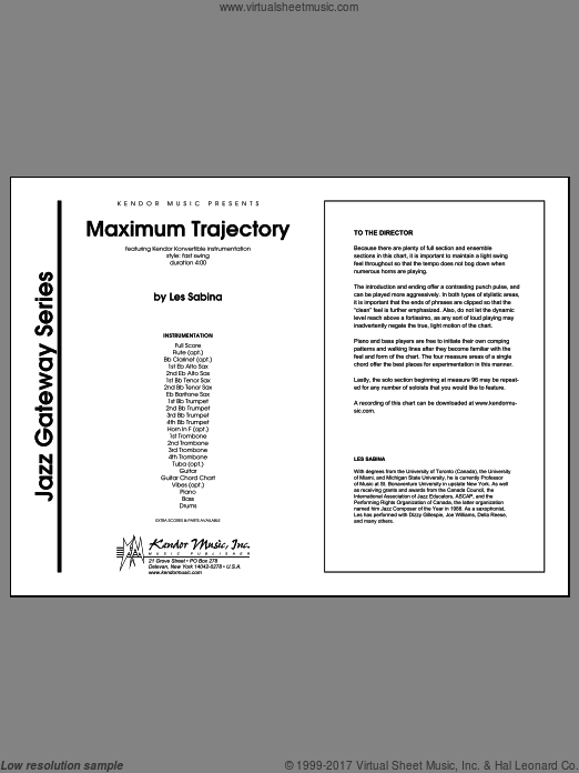 Maximum Trajectory (COMPLETE) sheet music for jazz band by Sabina