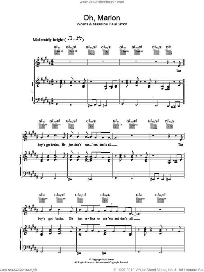 Oh, Marion sheet music for voice, piano or guitar by Paul Simon. Score Image Preview.