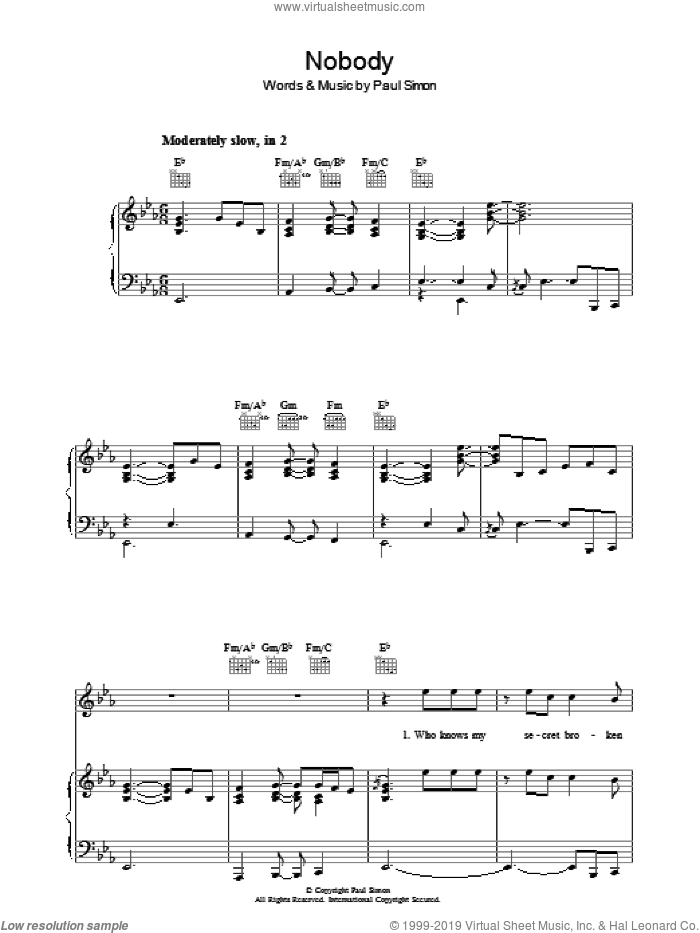 Nobody sheet music for voice, piano or guitar by Paul Simon, intermediate skill level