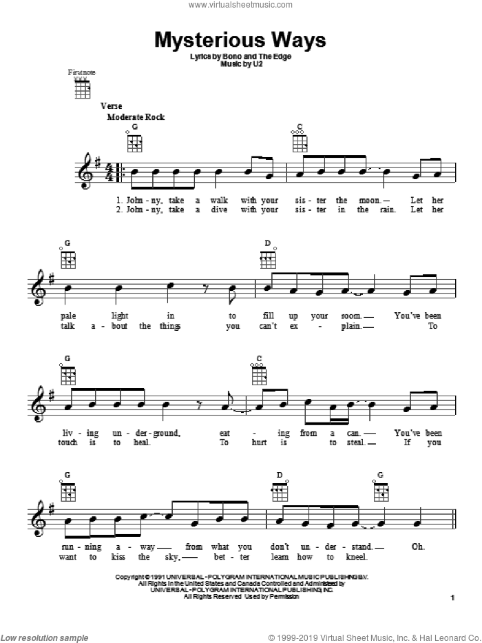 Mysterious Ways sheet music for ukulele by U2. Score Image Preview.