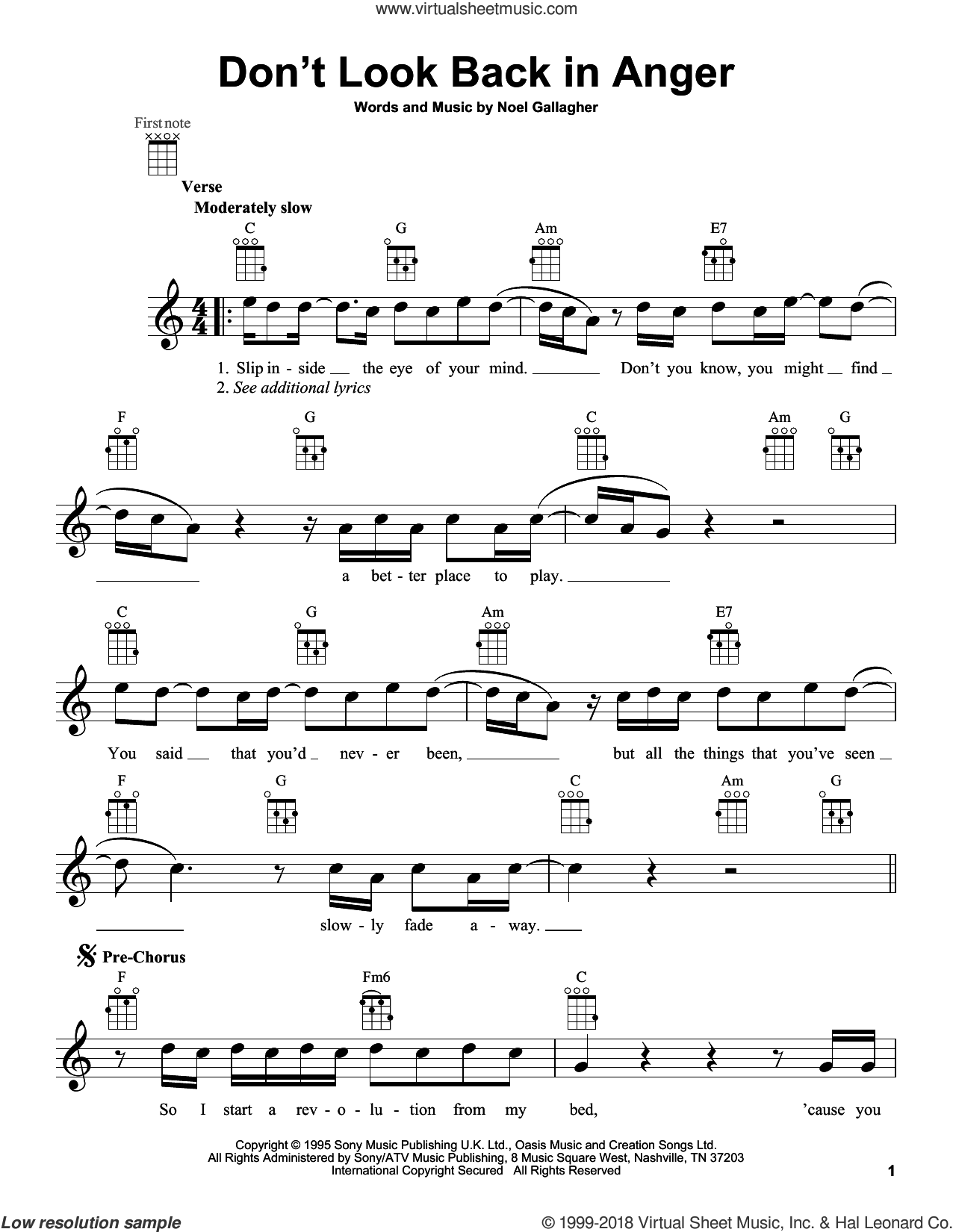 Don't Look Back In Anger sheet music for ukulele by Oasis, intermediate skill level