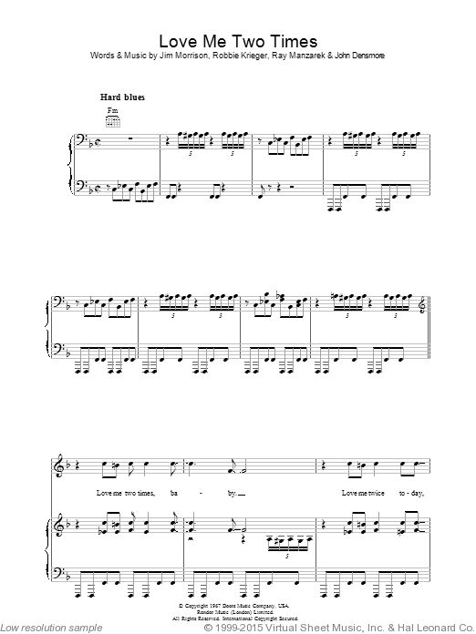 Love Me Two Times sheet music for voice, piano or guitar by Robbie Krieger