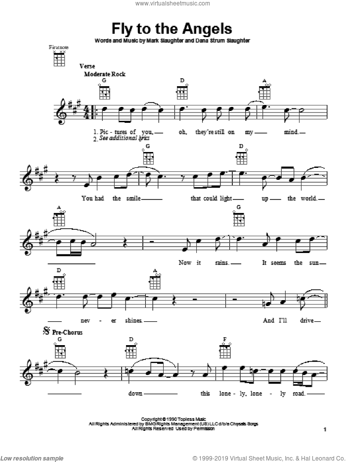 Fly To The Angels sheet music for ukulele by Slaughter. Score Image Preview.