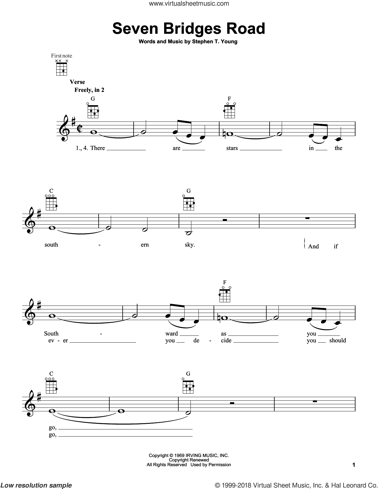 Seven Bridges Road sheet music for ukulele by Eagles. Score Image Preview.