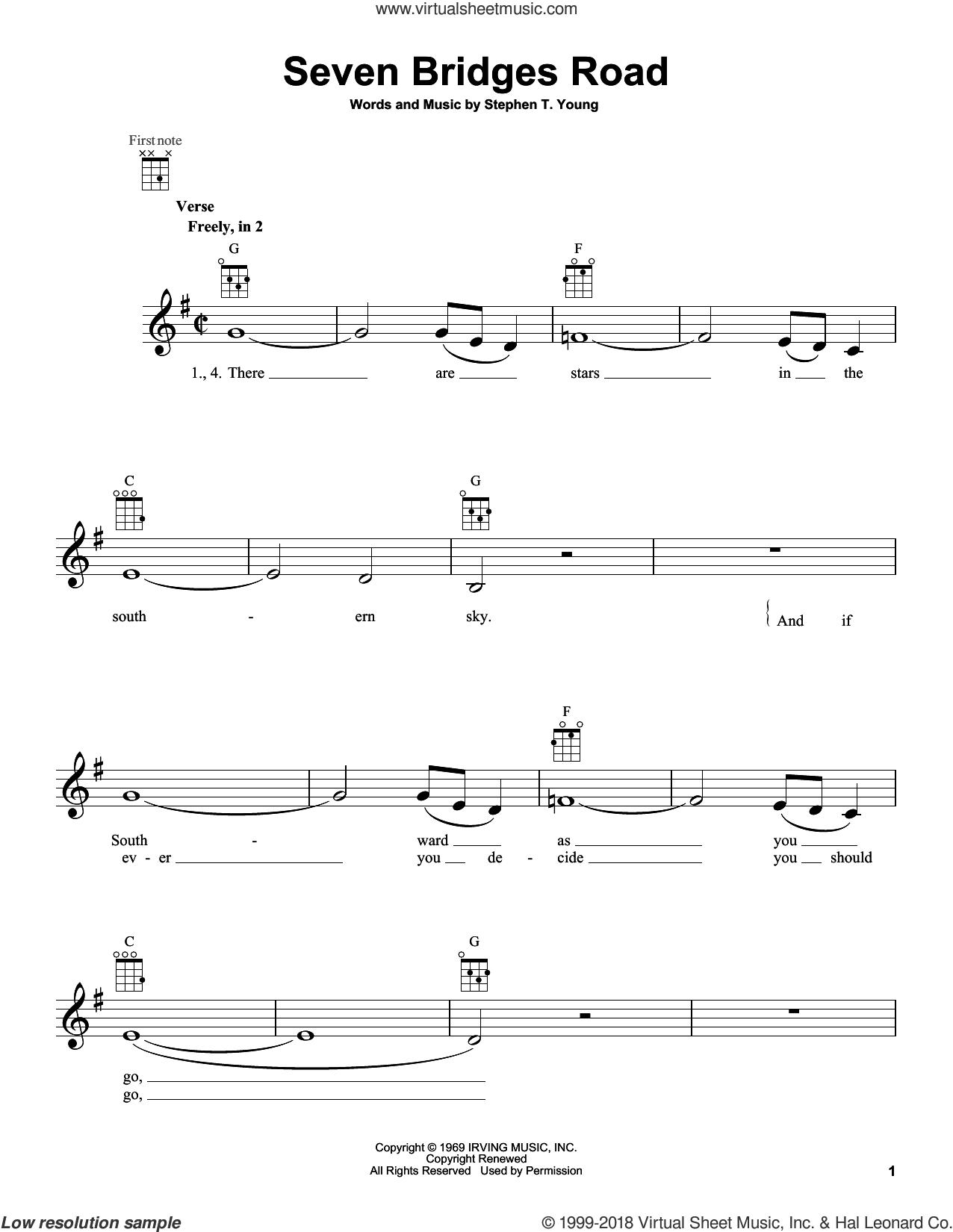 Seven Bridges Road sheet music for ukulele by The Eagles, intermediate skill level