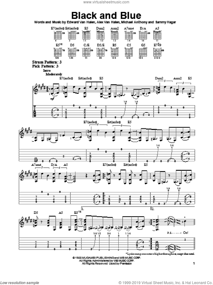 Black And Blue sheet music for guitar solo (easy tablature) by Edward Van Halen, easy guitar (easy tablature)