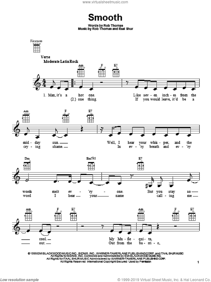 Smooth sheet music for ukulele by Santana featuring Rob Thomas. Score Image Preview.