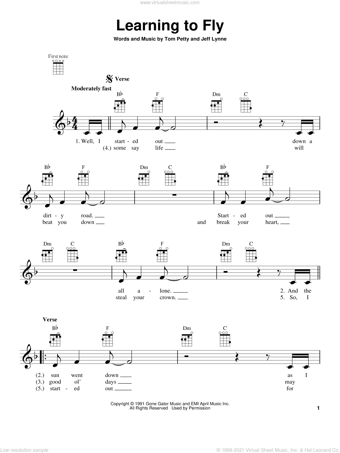 Learning To Fly sheet music for ukulele by Tom Petty. Score Image Preview.