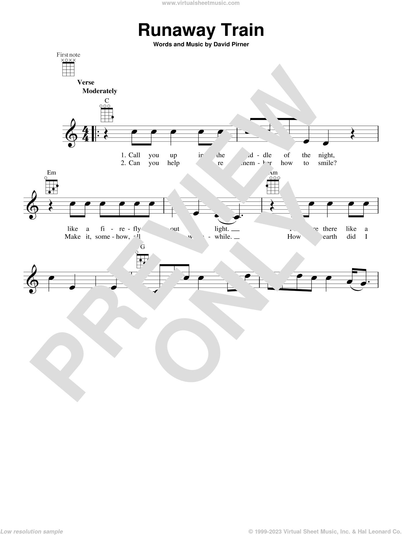 Runaway Train sheet music for ukulele by Soul Asylum, intermediate skill level