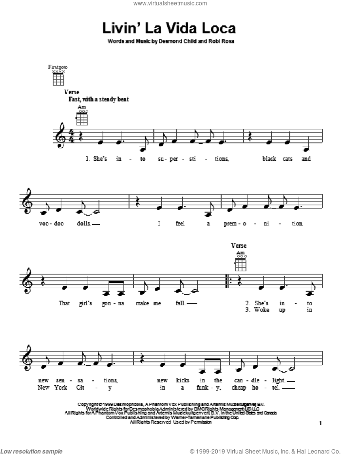 Livin' La Vida Loca sheet music for ukulele by Ricky Martin, intermediate