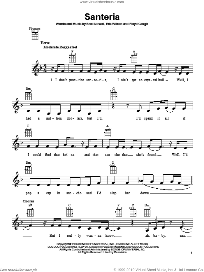 Santeria sheet music for ukulele by Sublime, intermediate