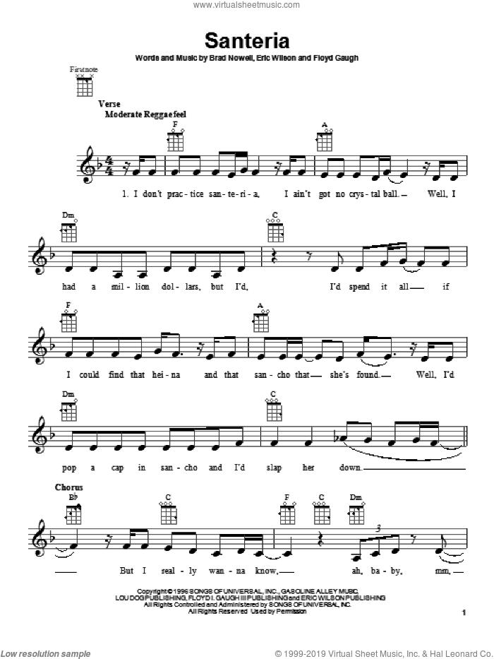 Santeria sheet music for ukulele by Sublime, intermediate skill level