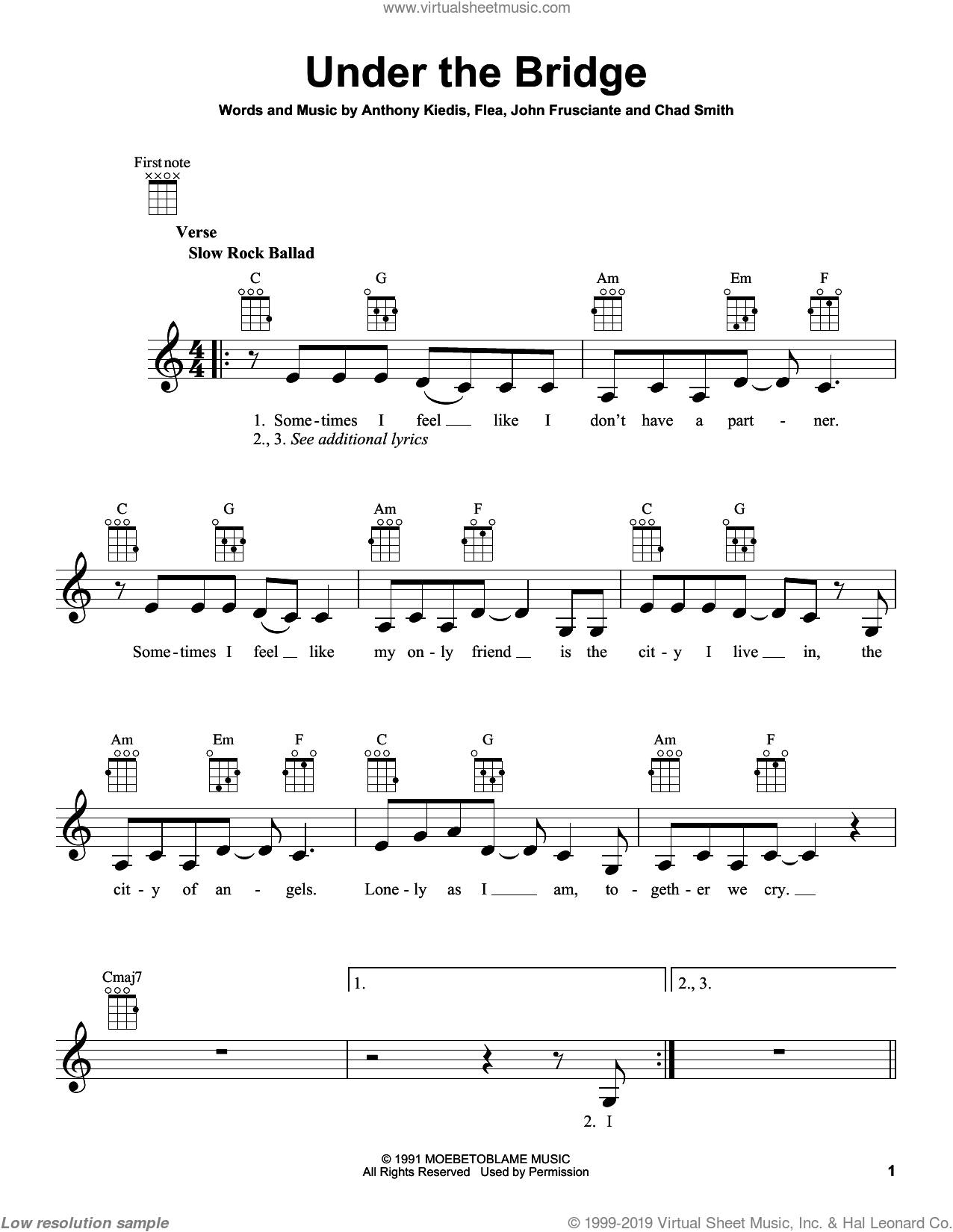 Under The Bridge sheet music for ukulele by Red Hot Chili Peppers, intermediate ukulele. Score Image Preview.