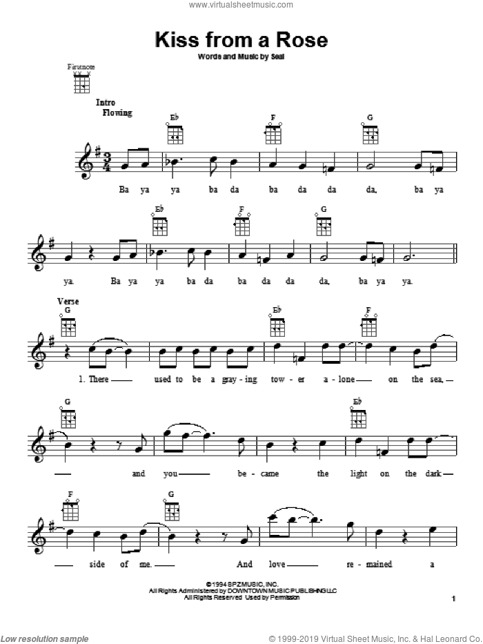 Kiss From A Rose sheet music for ukulele by Manuel Seal, intermediate. Score Image Preview.