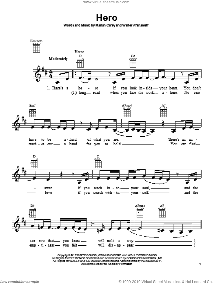Hero sheet music for ukulele by Mariah Carey. Score Image Preview.