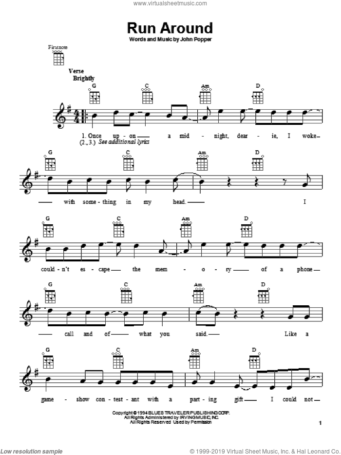 Run Around sheet music for ukulele by Blues Traveler. Score Image Preview.