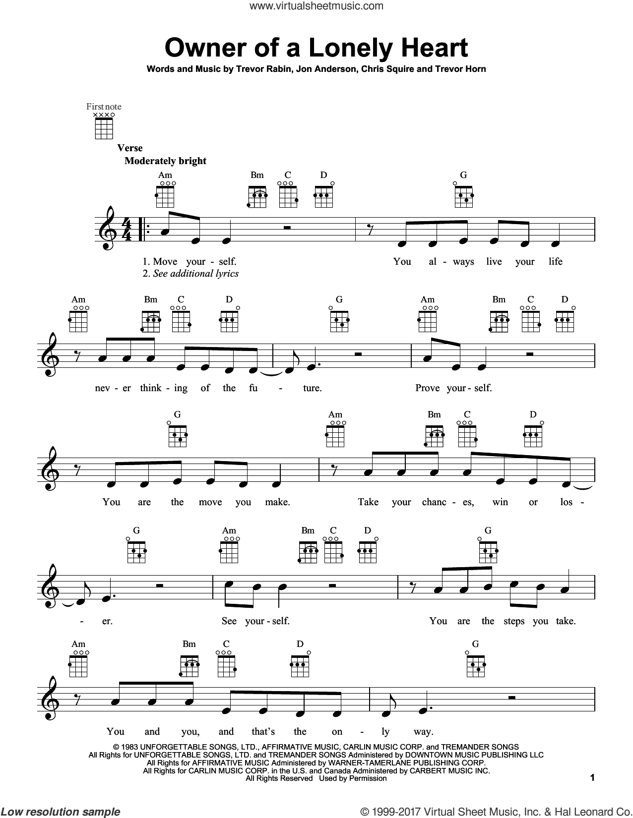 Owner Of A Lonely Heart sheet music for ukulele by Yes, intermediate skill level