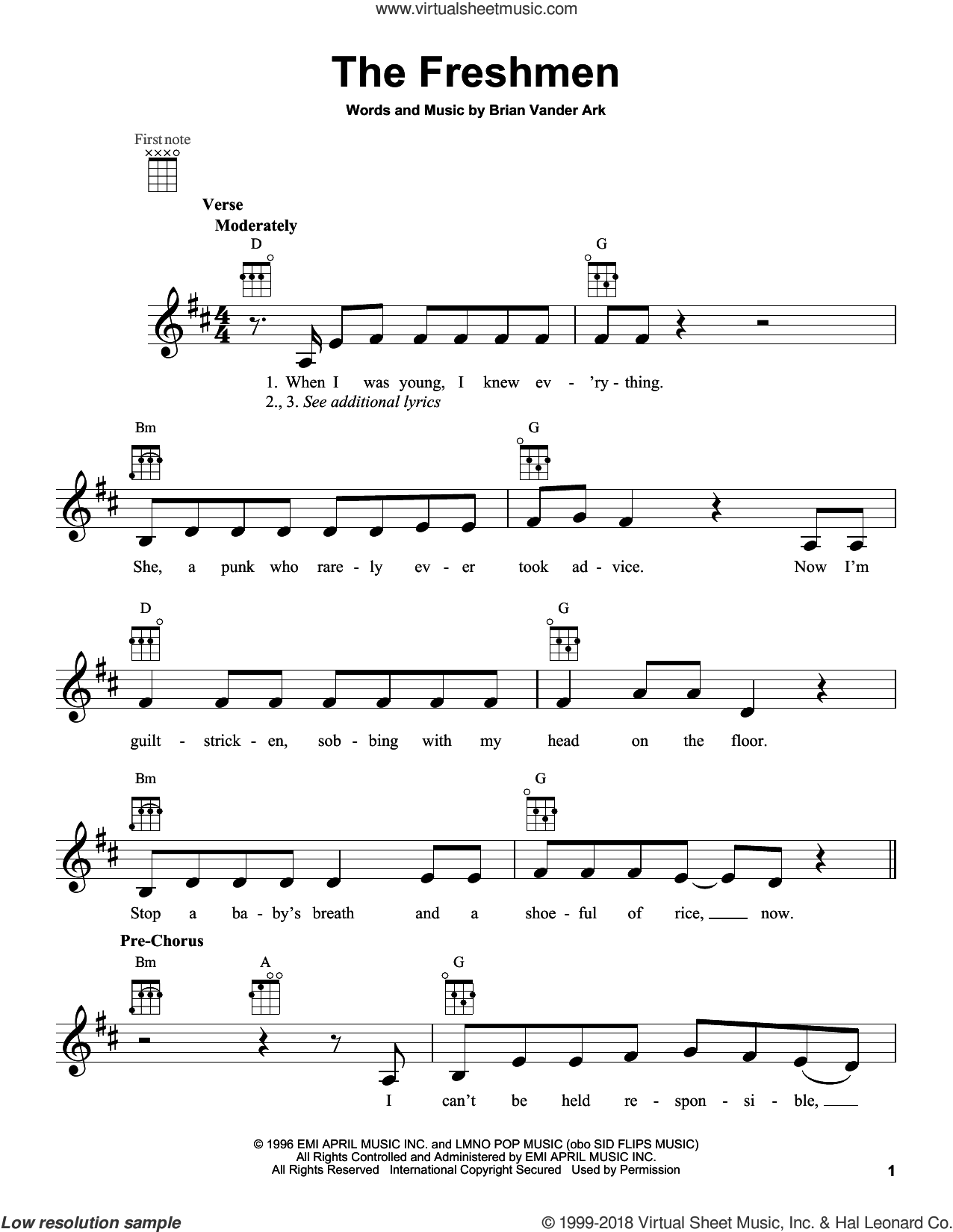 The Freshmen sheet music for ukulele by The Verve Pipe, intermediate skill level