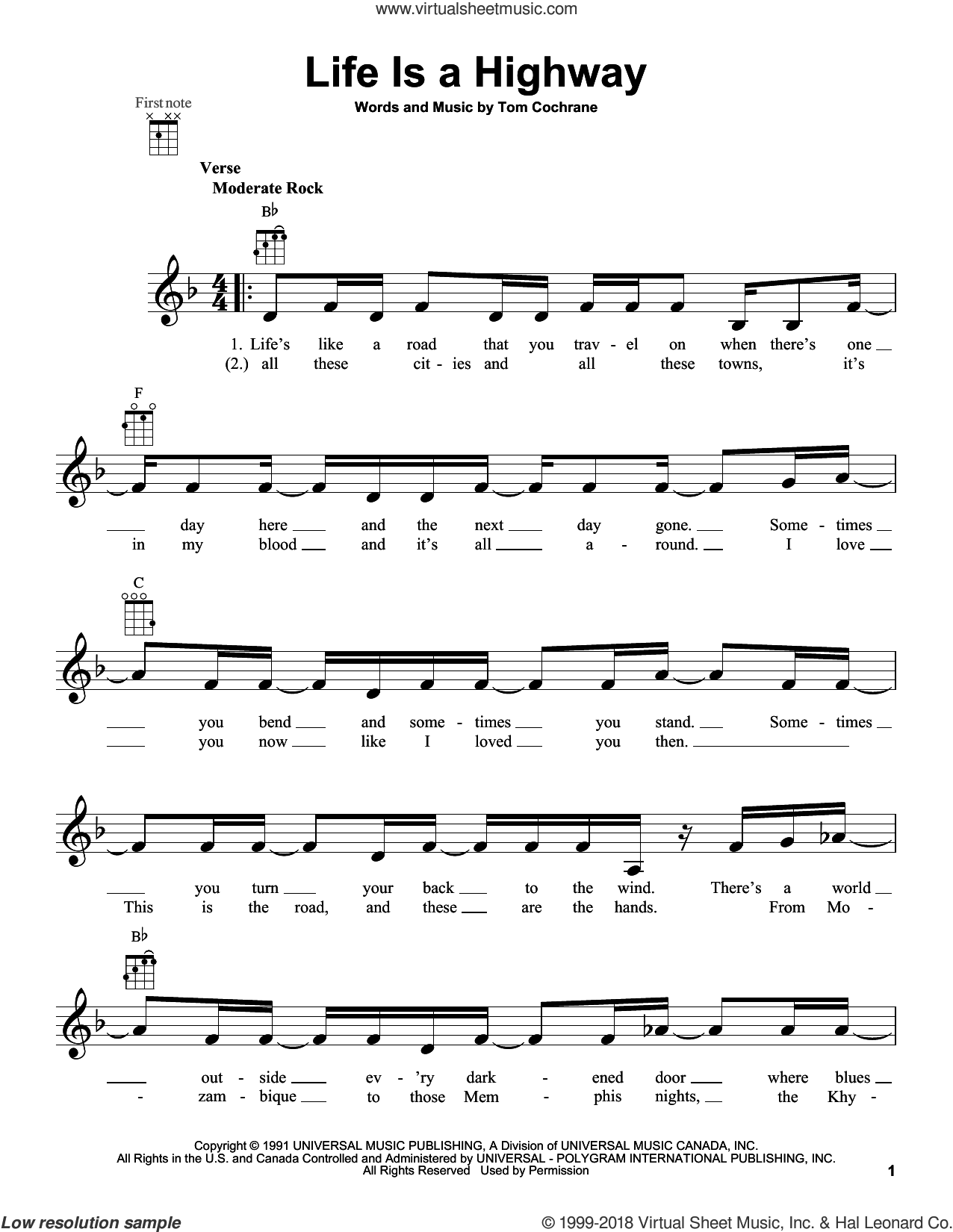 Life Is A Highway sheet music for ukulele by Tom Cochrane. Score Image Preview.