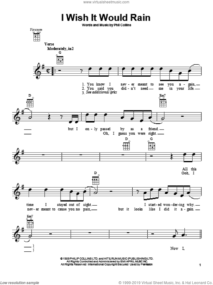 I Wish It Would Rain sheet music for ukulele by Phil Collins. Score Image Preview.