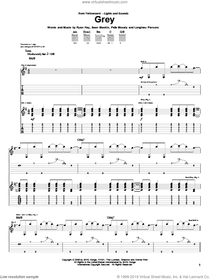Grey sheet music for guitar (tablature) by Yellowcard, Longineu Parsons, Pete Mosely, Ryan Key and Sean Mackin, intermediate skill level
