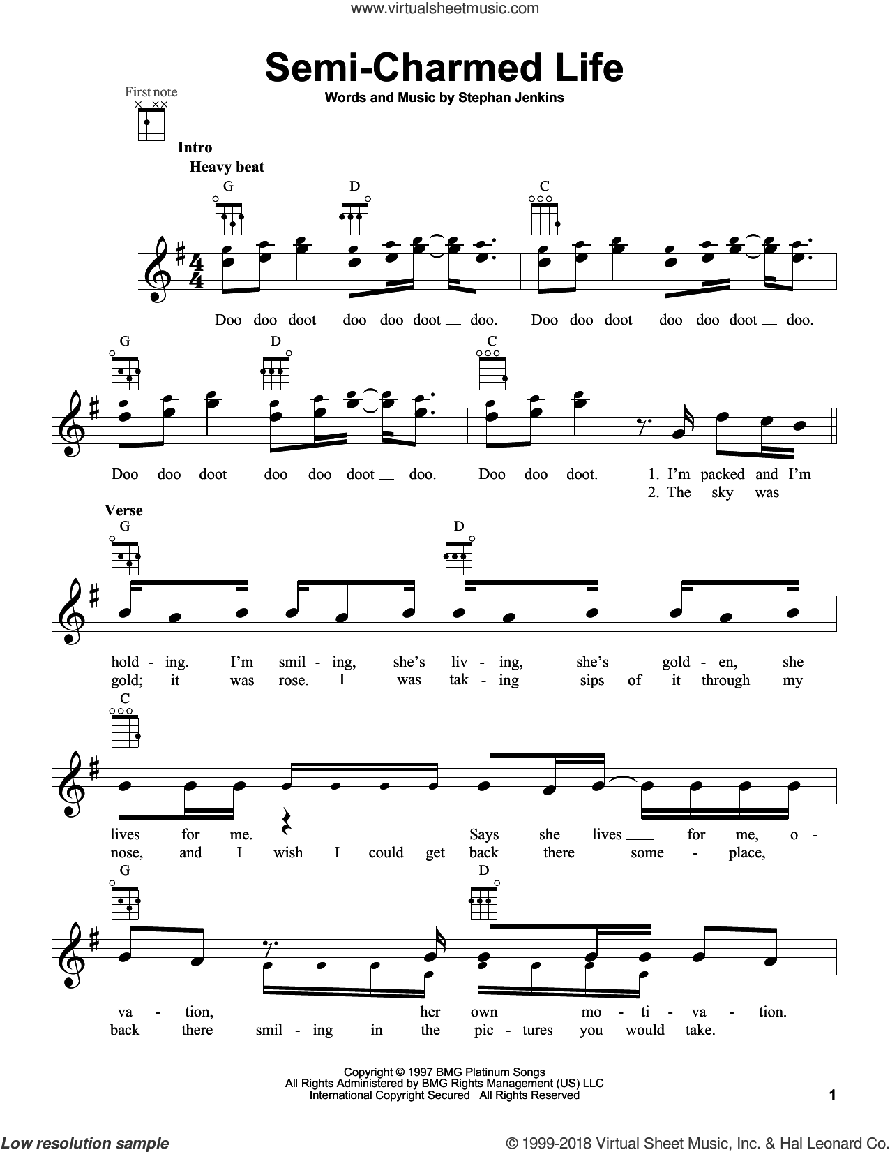 Semi-Charmed Life sheet music for ukulele by Third Eye Blind. Score Image Preview.