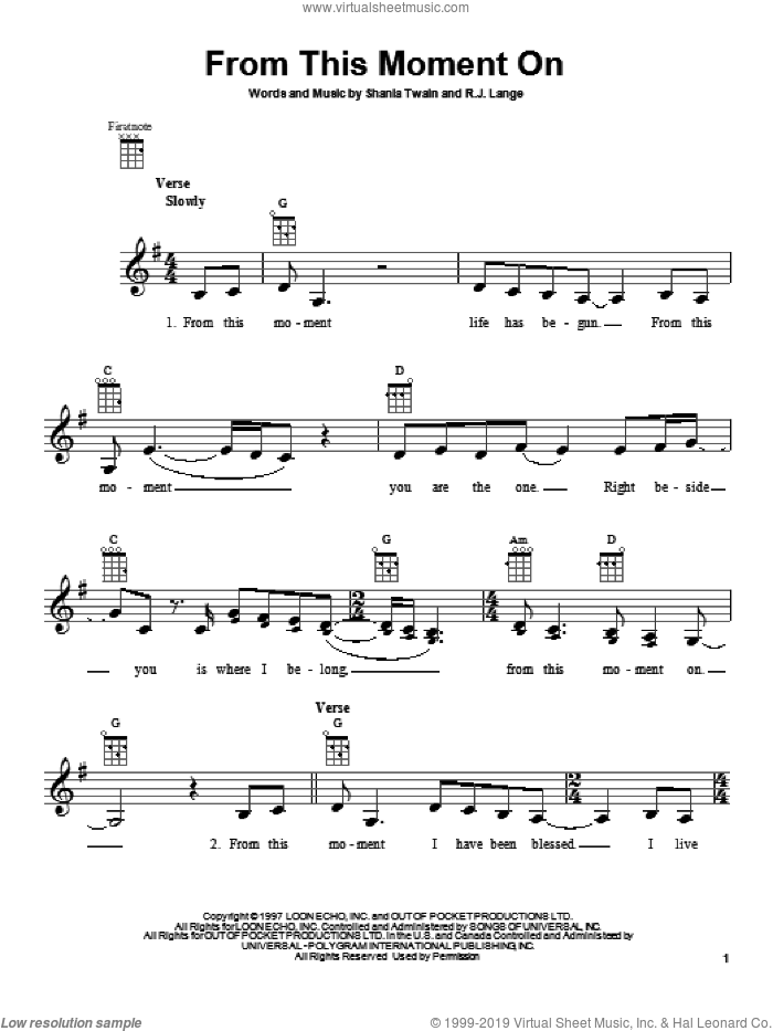 From This Moment On sheet music for ukulele by Shania Twain. Score Image Preview.