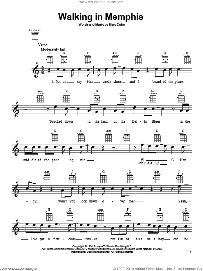 Walking In Memphis sheet music for ukulele by Marc Cohn