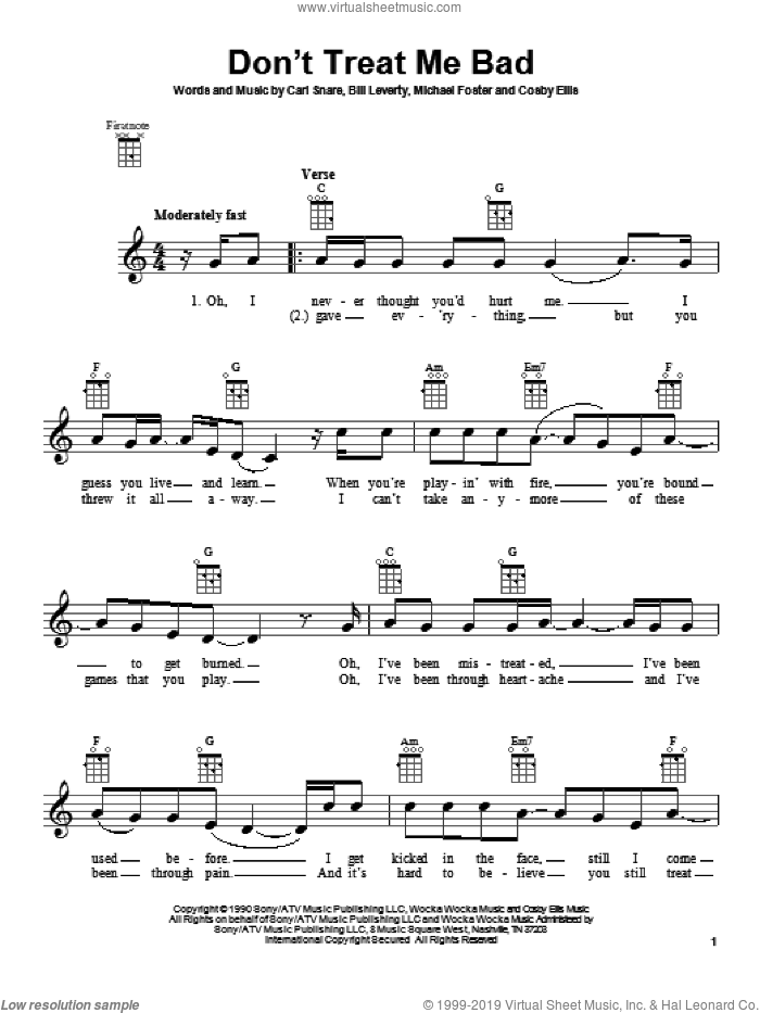 Don't Treat Me Bad sheet music for ukulele by Firehouse. Score Image Preview.