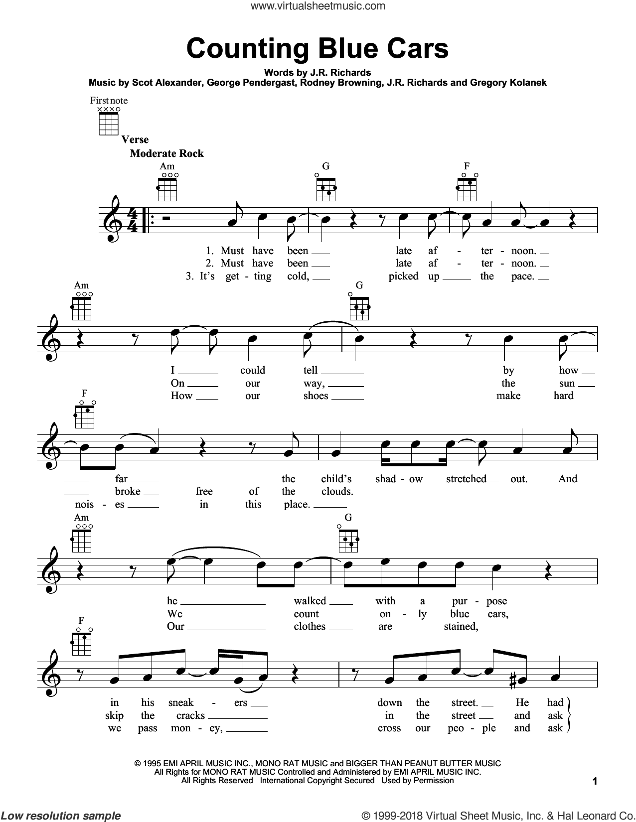 Counting Blue Cars sheet music for ukulele by Dishwalla. Score Image Preview.