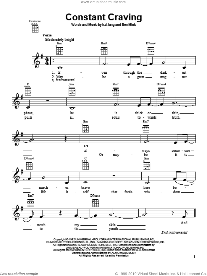 Constant Craving sheet music for ukulele by k.d. lang, intermediate. Score Image Preview.