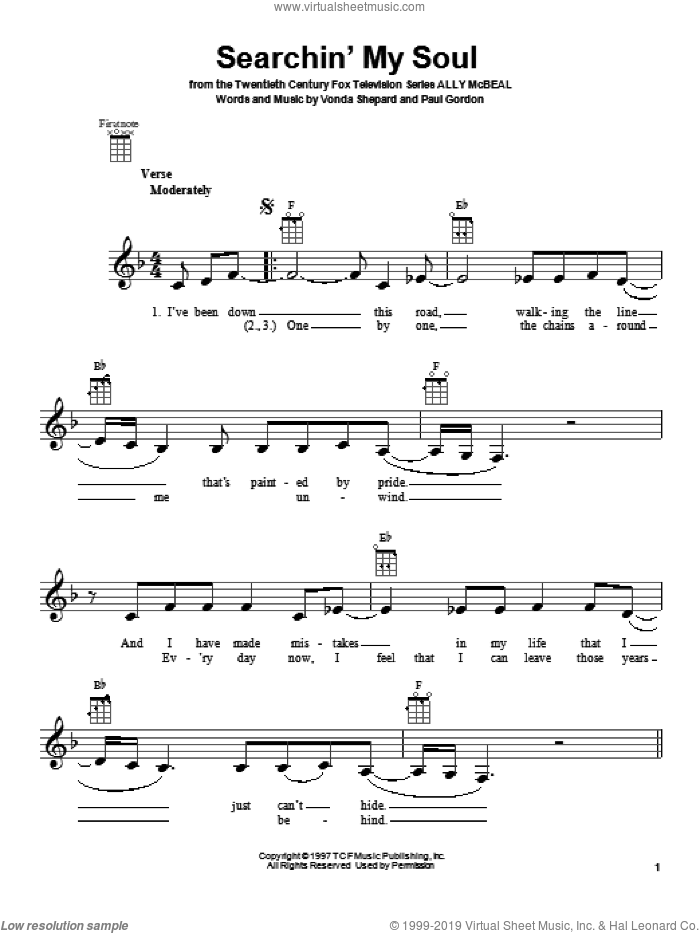 Searchin' My Soul sheet music for ukulele by Vonda Shepard. Score Image Preview.