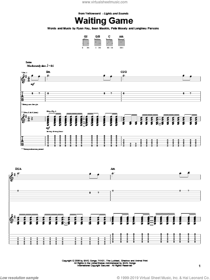 Waiting Game sheet music for guitar (tablature) by Sean Mackin and Ryan Key. Score Image Preview.