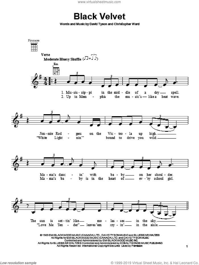 Black Velvet sheet music for ukulele by Alannah Myles, intermediate. Score Image Preview.
