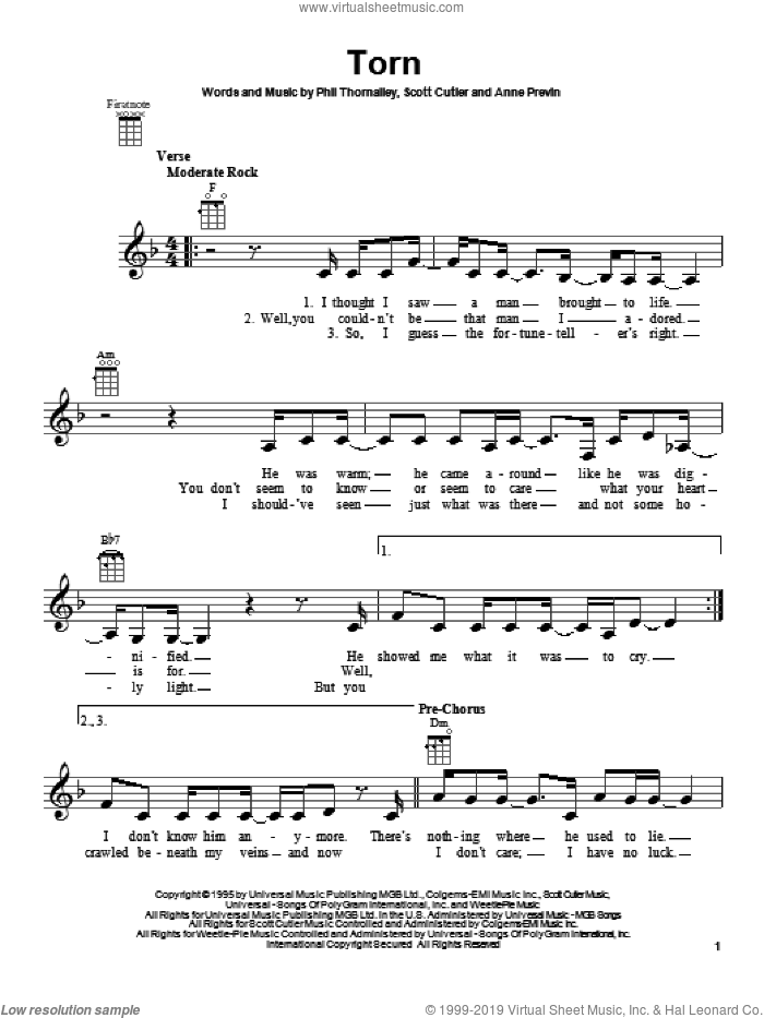 Torn sheet music for ukulele by Natalie Imbruglia, intermediate. Score Image Preview.