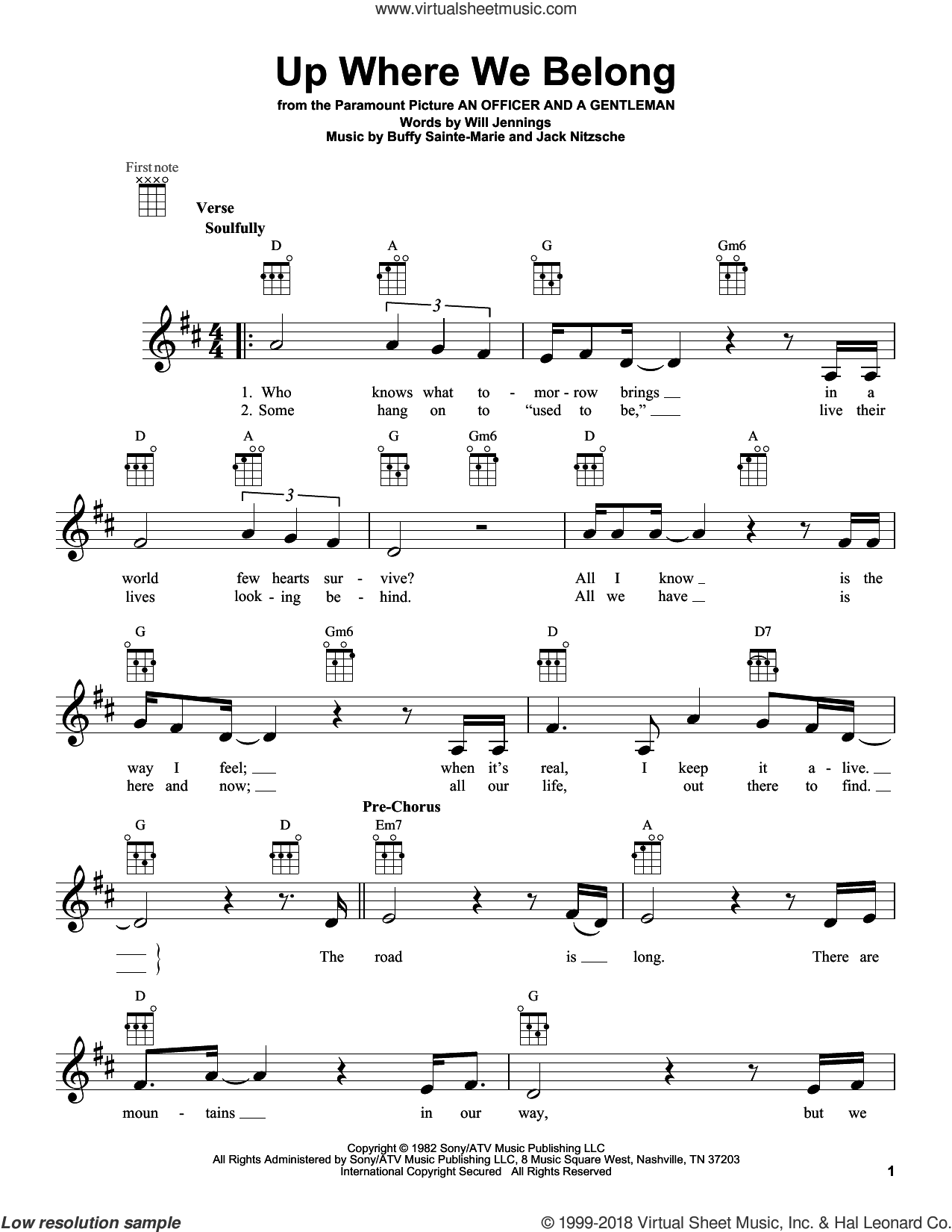 Up Where We Belong sheet music for ukulele by Joe Cocker & Jennifer Warnes and BeBe and CeCe Winans, intermediate skill level