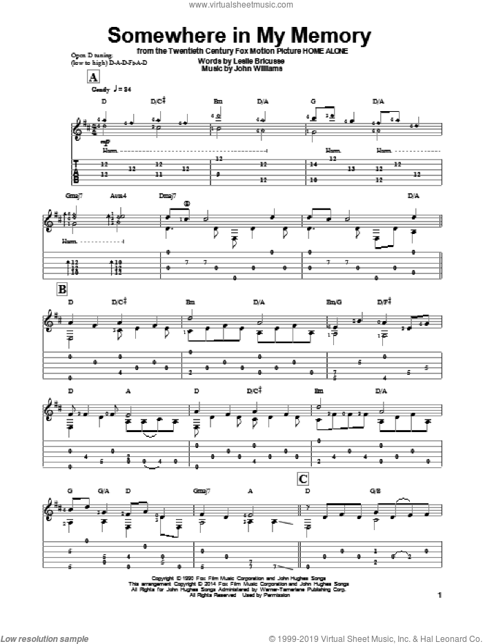 Somewhere In My Memory sheet music for guitar solo by John Williams and Ben Woolman, classical score, intermediate