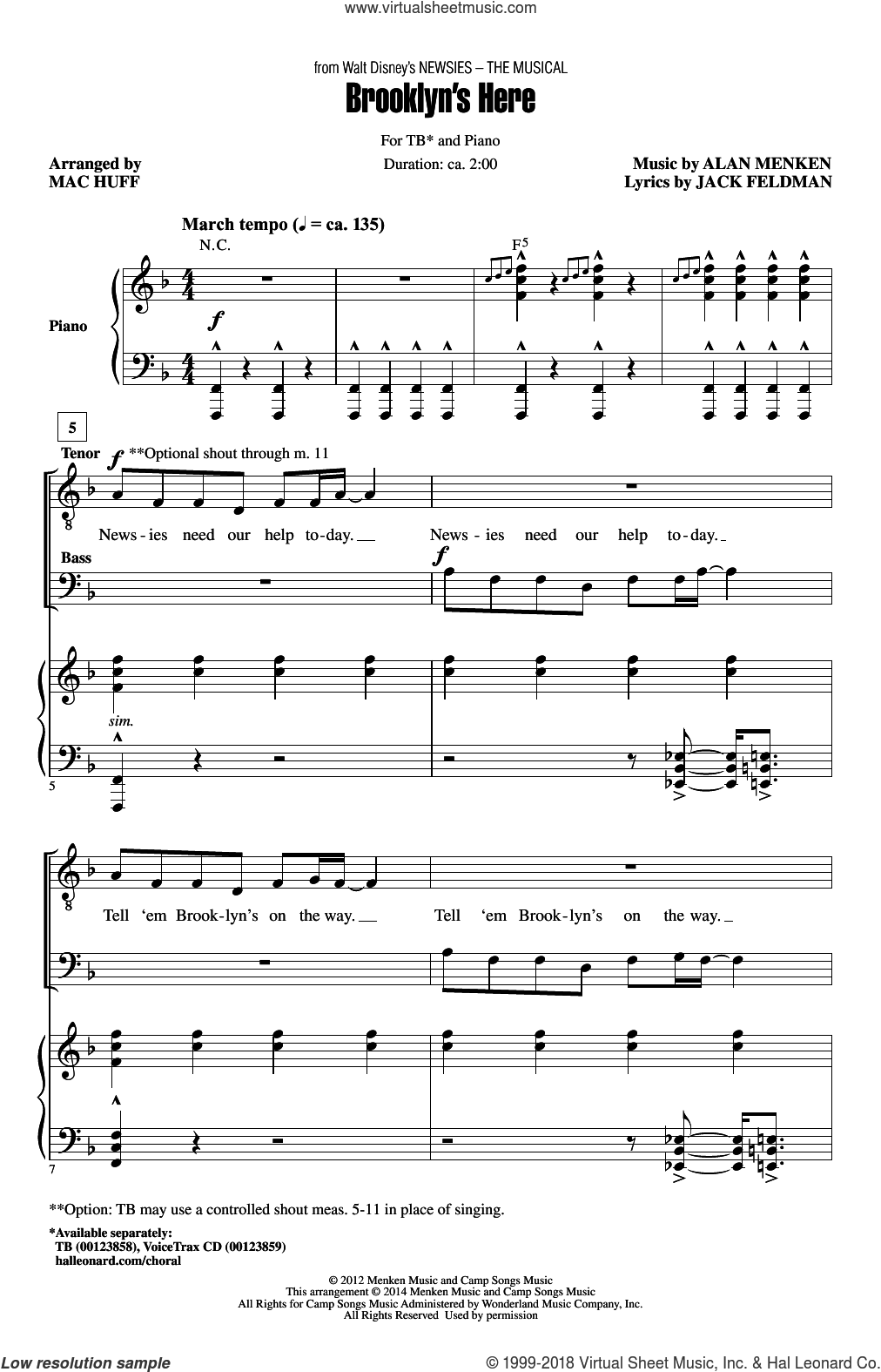 Brooklyn's Here sheet music for choir (TB) by Mac Huff. Score Image Preview.